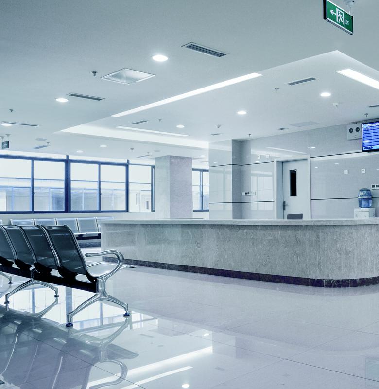 Very clean hospital lobby