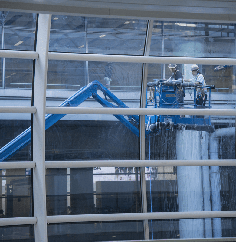 Hospital windows being cleaned